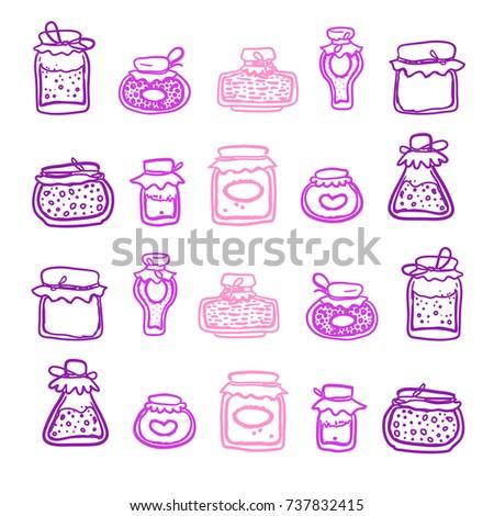 Seamless pattern with doodle jars of homemade jam with labels. Natural fruit jam preserves jar