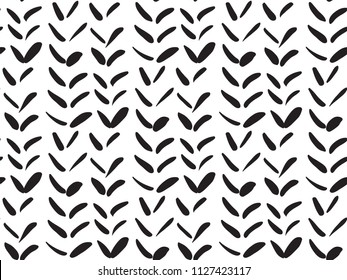 Seamless pattern with doodle knitting braids, stylized sweater fabric, wheat grains texture. Abstract geometric weaving ornament. Cute vector design for textile print, winter decoration, wallpaper.
