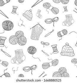 Seamless pattern doodle knitting icons, thread, yarn, knitting needles, socks. Hand drawn vector illustration. Background for textiles, cards, stationery, sites.