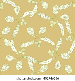 Seamless pattern with doodle leaf.Vintage style.  Background, wallpaper, textile, cover, wrapper.