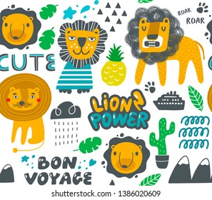 Seamless pattern with doodle lions and tropical objects. Vector wallpaper for decorating baby room or kids fabric.