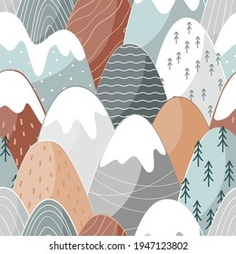 Seamless pattern with doodle mountains in Scandinavian style. Decorative landscape background. Cute hand drawn ornament.
