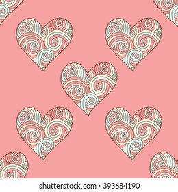 Seamless  pattern with doodle ornate  heart.