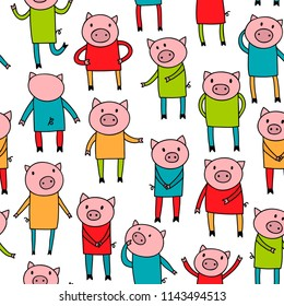 Seamless pattern with doodle pigs in colorful clothes. Vector endless background in childish style.