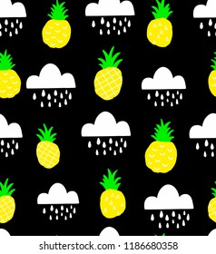 Seamless pattern with doodle pineapples on the black background. Vector print in simple scandinavian style.
