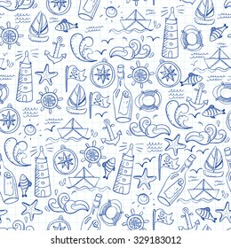 Seamless pattern with doodle sea elements. Vector illustration