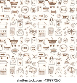 Seamless pattern with doodle sketch shopping icons with plastic card money bags tags shopping carts basket bags isolated vector illustration