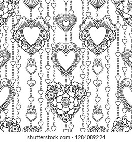 Seamless pattern in doodle style. Floral, ornate, decorative, tribal, Valentines decor. Black and white background. Love decorations, hearts. Zentangle hand drawn coloring book page
