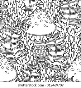 Mushroom Coloring Pages Images Stock Photos Vectors Shutterstock