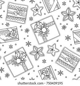 Seamless pattern in doodle style. Floral, ornate, decorative, tribal, Christmas decor. Black and white background. Christmas presents, stars. Zentangle hand drawn coloring book page