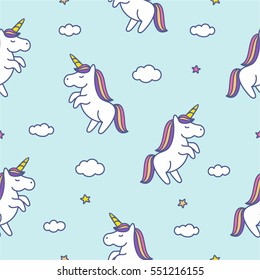 Seamless pattern with doodle style unicorns, clouds and stars on blue sky. Vector background illustration for kids
