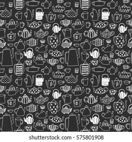 Seamless pattern with doodle teapots.