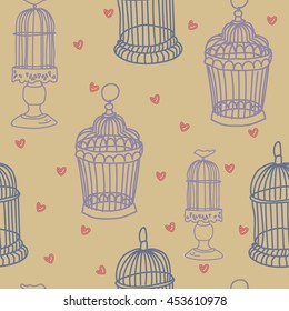 Seamless pattern with doodle.Cages seamless texture on a background vectors