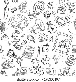 Seamless pattern of doodles on business and money theme