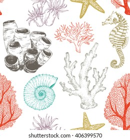 seamless pattern doodling, marine theme, corals, shellfish, graphic design, vintage wallpaper