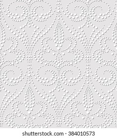 Seamless pattern of dotted damask. Elegant embossed effect texture background without gradient. Simple to edit.
