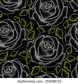 Seamless pattern with dotted white roses and green leaves on the black.  Floral background in dotwork style.