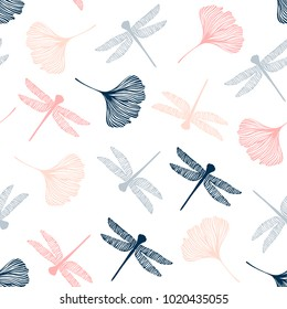 Seamless pattern with dragonflies and ginkgo leaves.