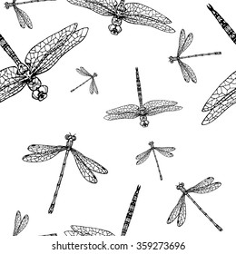 seamless pattern with dragonflies; hand drawn objects