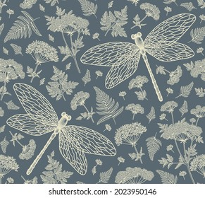 Seamless Pattern. Dragonflies, Hemlock tree, Fern, fly. Flowers insects fauna. Drawing engraving isolated realistic. Beautiful background blooming. Floral baroque. Vintage Victorian illustration.