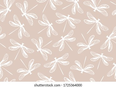 Seamless pattern with dragonflies. Vector background.