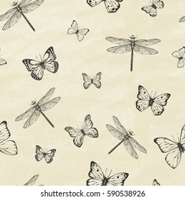 Seamless Pattern with dragonfly's and  butterflies. Dragonfly background. Vector illustration.