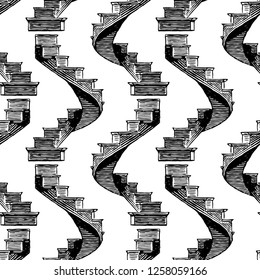 Seamless pattern of drawn spiral staircase
