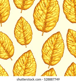 Seamless pattern with dried yellow leaves on white background. Floral vector illustration with tobacco leaves.