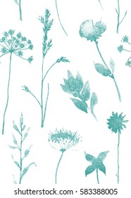 Seamless pattern with dry flowers and grass. Hand drawn illustration with stipple effect. EPS10 vector