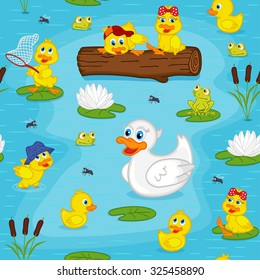 seamless pattern with ducks on lake - vector illustration, eps