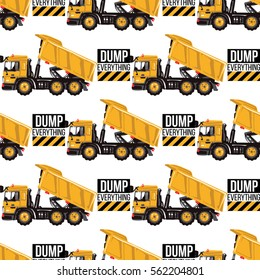 Seamless pattern with dumper truck and dump everything inscription. Inspired by road, building machinery. Vector background for decoration children's room, invitations, website, mobile app.