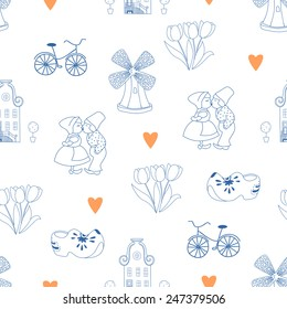Seamless pattern with Dutch ornaments (Deflt blue style). EPS 10.