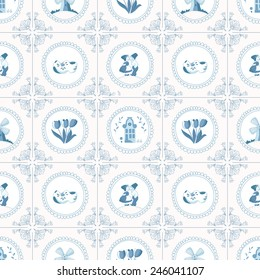 Seamless pattern with Dutch ornaments (Delft blue style). EPS 10.
