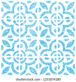 Seamless pattern with dutch ornaments in delftware or delft blue pottery style. Delft Kitchen and Fireplace Tiles. Graphic element for design saved as an vector illustration in file format EPS