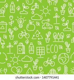 Seamless pattern for Earth Day. Ecology wallpaper illustration of line icons isolated on green background. Nature hand drawn vector texture.