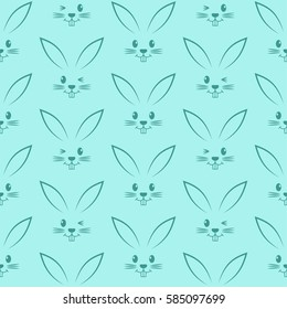 Seamless pattern with easter bunnies. Background for greeting card, invitation, wrapping. Vector Illustration