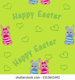 seamless pattern with easter bunny couple. Kawaii style, Vector eps 10