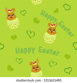 seamless pattern with easter bunny in cupcake. Kawaii style, Vector eps 10