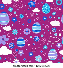 Seamless pattern with Easter eggs in blue purple color. Memphis 80's-90's styles. Colorful geometric background, different shapes. Vector illustration