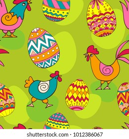 Seamless pattern with Easter eggs and chicken. Easter hand-drawn decorative elements in vector. Zentangle. Illustration can be used for cover, card, background for poster, fabrics, wallpaper, textile