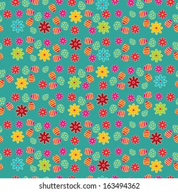 Seamless pattern with Easter eggs with flower