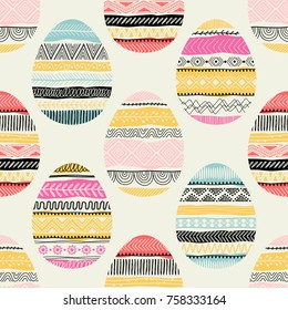 Seamless pattern with Easter eggs. Freehand drawing. Can be used on packaging paper, fabric, background for different images, etc.