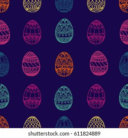 Seamless pattern with Easter eggs. Easter hand-drawn decorative elements in vector. .  Zentangle. Illustration can be used for cover, card, background for poster, fabrics, wallpaper, textiles