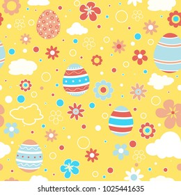 Seamless pattern with Easter eggs in pastel color. Retro styles. Colorful light blue, red and yellow baby background with flowers, clouds and easter elements. Vector illustration