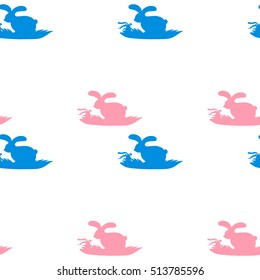 Seamless pattern with easter rabbits and eggs with bows and ribbons. Blue and pink colors. Silhouettes of bunny in grass. For Easter holidays, kids room interior, wrapping paper, prints, designs.