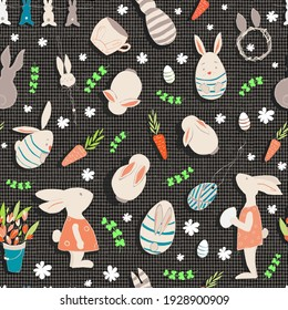 Seamless pattern. Easter. Easter white bunnies. Carrot. Eggs. Flowers. Isolated decorative ornaments. Brown pastel background with linen texture. Vector for packaging designs, fabric prints, etc.