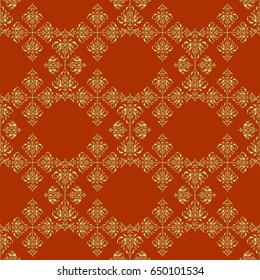 Seamless pattern in Eastern style with floral golden elements. Vector sketch for cards, thank you message, printing. Vintage seamless border and grid for design template on a brown background.