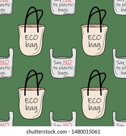 """Seamless pattern with eco bag and plastic bag on a green background. The slogan is """"Say NO to plastic bags"""". Vector illustration."""