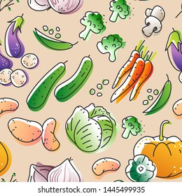 Seamless pattern of eco natural harvest products, illustrations in sketchy style of healthy vegetables, free hand vector drawing background of farming veggies, good for farming market, restaurant