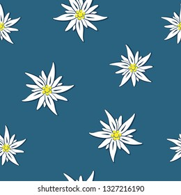 seamless pattern edelweiss flower on blue background vector illustration EPS10